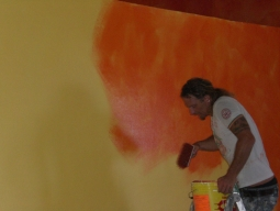 Painting the wall of the cantina