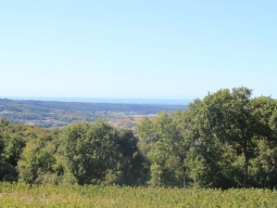 View of the sea from the fields